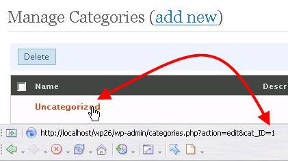 การหา ID ของ Categories