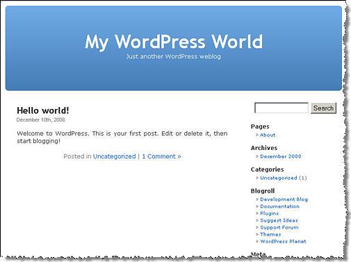 หน้าบล็อก WordPress