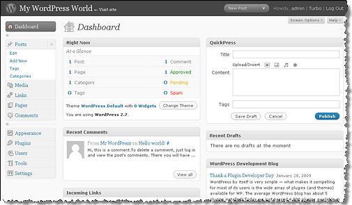 ส่วนควบคุมระบบของ WordPress