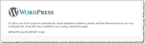 WordPress 2.9 Repair database