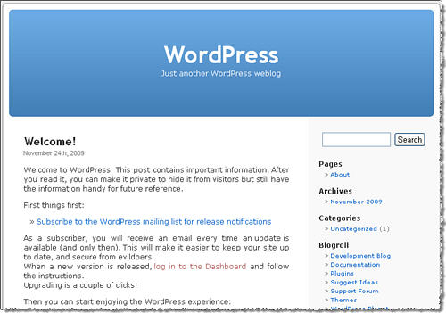 WordPress 2.9 Welcome
