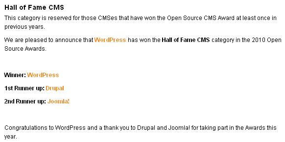 WordPress wins Hall of Fame CMS award